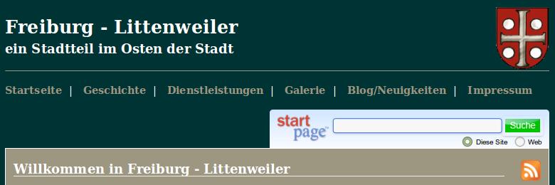 Screenshot: Startseite - FR-Littenweiler mit StartPage